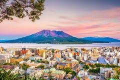 Kagoshima, Japan Skyline and VOlcqano Royalty Free Stock Photos