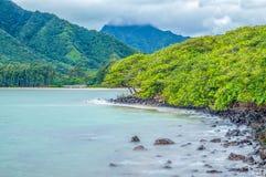 Kahana Bay. Eastside view of Kahana Bay, Oahu, Hawaii Stock Photo