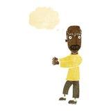 kahl werdend Mann der Karikatur, der mit Gedankenblase erklärt Lizenzfreie Stockfotos