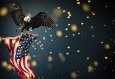 Kahler Adler mit amerikanischer Flagge Stockfotografie