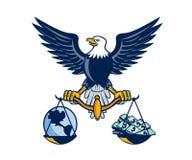 Kahler Eagle Hold Scales Earth Money Retro- Lizenzfreie Stockfotografie