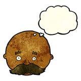 kahler Mann der Karikatur mit dem Schnurrbart mit Gedankenblase Lizenzfreies Stockfoto