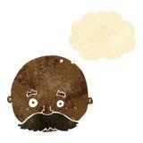 kahler Mann der Karikatur mit dem Schnurrbart mit Gedankenblase Stockbilder