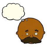 kahler Mann der Karikatur mit dem Schnurrbart mit Gedankenblase Stockfoto