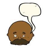 kahler Mann der Karikatur mit dem Schnurrbart mit Spracheblase Stockfoto