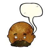 kahler Mann der Karikatur mit dem Schnurrbart mit Spracheblase Stockfotografie