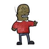 kahler zeigender und lachender Mann der Karikatur, Stockbild