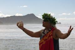 Kahu Manu Mook. Event: World Bodyboarding Championship, 10.IX.11 Location: Point Panic, on the island of O'ahu, Hawai'i, USA Subject: Hawaiian chanter Manu Mook royalty free stock images