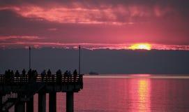Kai bei Sonnenuntergang stockbilder