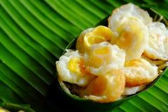 `Kai krok`Quail  Egg mortar Served in Krathong made from banana leaves. Royalty Free Stock Image