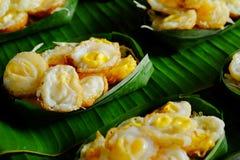 `Kai krok`Quail  Egg mortar Served in Krathong made from banana leaves. Royalty Free Stock Photos