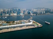 Kai Tak Cruise Terminal of Hong Kong. From drone view royalty free stock images