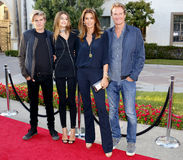 Kaia Gerber, Cindy Crawford, Rande Gerber and Presley Walker Gerber royalty free stock photos