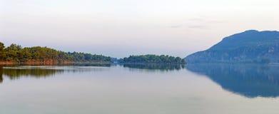 Kaiafas lake, western peloponnese - Greece. View of Kaiafas lake at the dusk. Western peloponnese - Greece royalty free stock image
