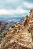 Kaibab trail, south rim, Grand Canyon. Steep trail into canyon, the kaibab trial Stock Images