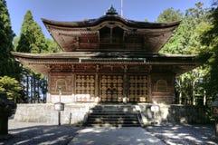 Kaidanin寺庙在Mt的Enryaku籍修道院 比睿号战舰,京都,日本 免版税图库摄影