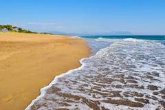 Kaiafas beach, Greece. Landscape of sandy Kaiafas beach in Greece royalty free stock photography