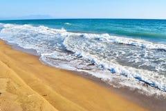 Kaiafas beach, Greece. Landscape of sandy Kaiafas beach in Greece royalty free stock images