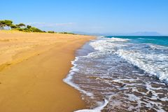 Kaiafas beach, Greece. Landscape of sandy Kaifas beach in Greece royalty free stock photo