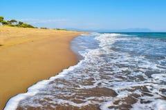 Kaiafas beach, Greece. Landscape of sandy Kaiafas beach in Greece stock image