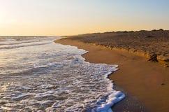Kaiafas beach, Greece. Landscape of sandy Kaiafas beach at sunset, Greece royalty free stock image