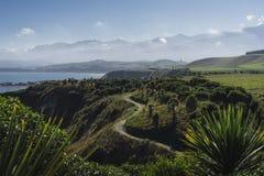 Kaikoura与山的道路风景 免版税库存照片