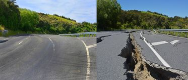 Kaikoura在Hunderlees小山以前修理的地震损伤 库存照片