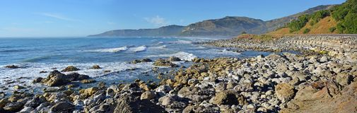 Kaikoura coastline looking south one year after the earthquake Royalty Free Stock Photo