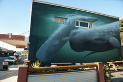 KAIKOURA, NEW ZEALAND - April 3, 2011:. Whale painting on a wall in Kaikoura reknown for its whale watching tours Stock Image