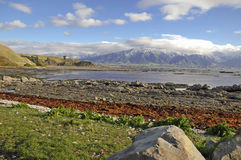 Kaikoura, New Zealand. Snow capped mountains in Kaikoura, New Zealand stock images