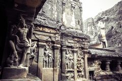 Kailash或Kailasanatha洞寺庙在Ellora陷下 印度 图库摄影