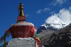 Kailash. The pagoda and the   profile   of  Kailash Royalty Free Stock Photo