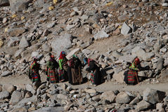 Kailash. Pilgrims  on  the  way around the  sacred mountain。They are tied,hungary but delighted Royalty Free Stock Image