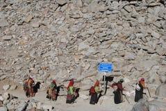 Kailash. Pilgrims  on  the  way around the  sacred mountain Royalty Free Stock Image