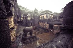 The Kailash or Kailasanatha cave temple in Ellora caves. India stock images