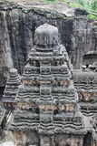 Kailsa寺庙,古老印度石头顶视图被雕刻的寺庙,不使16, Ellora,印度陷下 免版税库存照片