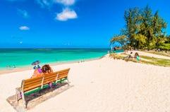 Kailua海滩在奥阿胡岛,夏威夷 库存照片