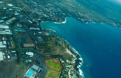 Kailua-Kona, großer Inselantennenschuß Stockbild