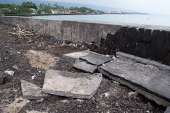 Kailua Kona, Hawaii - May 13, 2011. Aftermath of the Japan tsunami showing damage along the sea wall in Kailua Kona, Hawaii. This is where the sidewalk use to be Stock Photos