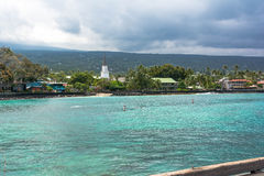 Kailua Kona by i den stora ön, Hawaii Arkivfoton