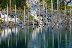 Kaindy Lake in Tien Shan mountain Stock Photo