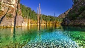 Kaindy sjö i höst i berg Kasakhstan 4K TimeLapse - September 2016, Almaty och Astana, Kasakhstan lager videofilmer