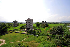 Kaiping Diaolou, China. Kaiping Diaolou are fortified multi-storey towers, generally made of reinforced concrete royalty free stock photo