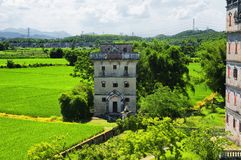 Kaiping tower Diaolou village buildings. The historic buildings and a rice paddy at Kaiping Diaolou in Zili village in Kaiping China in Guangdong province on a royalty free stock photos