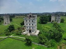 The Kaiping Diaolou (watchtowers) in Guangdong province in China. The Kaiping Diaolou (watchtowers) are fortified multi-storey towers generally made of Royalty Free Stock Photos
