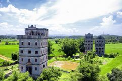 Kaiping tower Diaolou Village buildings. An elevated view of the Kaiping Towers Daiolou scenic area and world heritage site Kaiping China on a sunny day royalty free stock images