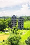 Kaiping tower Diaolou Village buildings. An elevated view of the Kaiping Towers Daiolou scenic area and world heritage site Kaiping China on a sunny day stock image