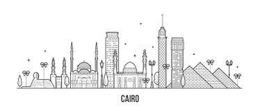Kair linia horyzontu Egipt miasta budynków wektorowa kreskowa sztuka ilustracja wektor