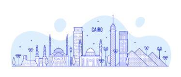 Kair linia horyzontu Egipt miasta budynków wektorowa kreskowa sztuka royalty ilustracja