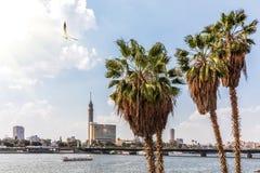Kair wierza i Nil widok, miasto, Egipt fotografia royalty free